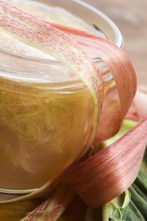 Rhubarb jam in glass jar photo