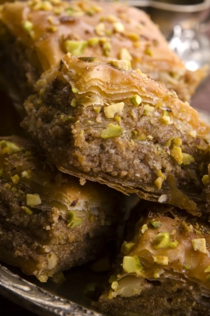 filo pastry: Baklava - traditional middle east sweet desert