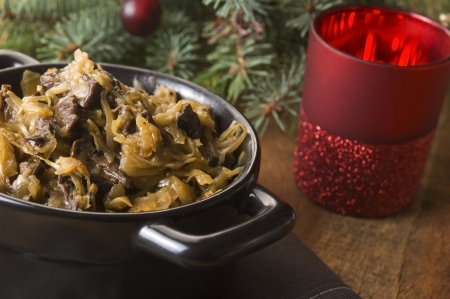 Traditional polish sauerkraut with mushrooms for christmas