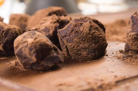 Homemade chocolate truffles photo