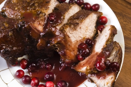 Delicious Scrambled Grilled meat with cranberry sauce  photo