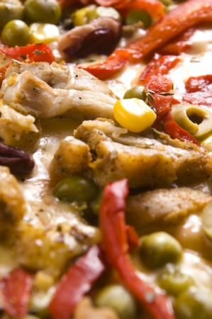 Pizza with chicken, pepper and olives  photo
