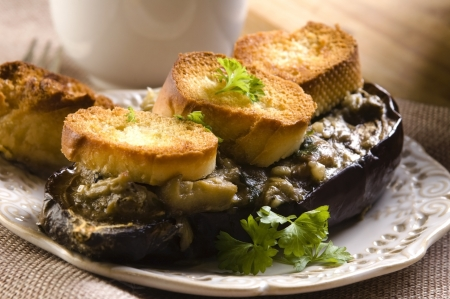 Baked stuffed eggplant photo