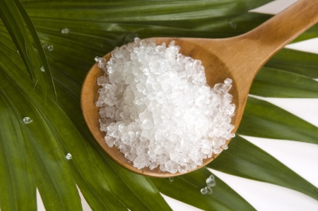 bath salt and palm leaf  photo