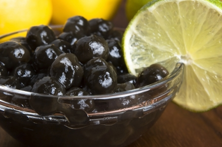 bubble acid: tapioca pearls with lime. white bubble tea ingredients