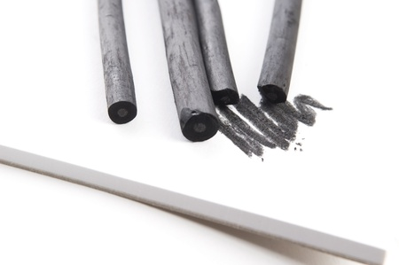 smudge: Artists black charcoal with smudge