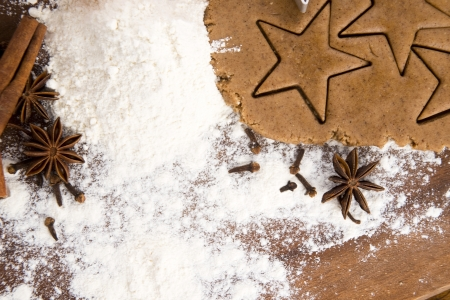 Preparing gingerbread cookies for christmas photo