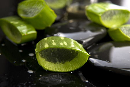 Sliced aloe leaves with oil on the stone photo