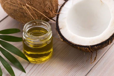 Coconut and coconut oil  Stock Photo