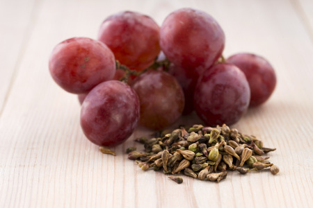 grape seed: grape seed oil  Stock Photo