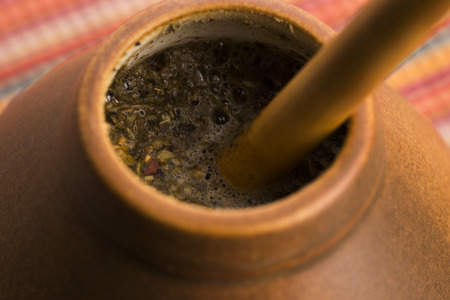 mate: Calabash and bombilla with yerba mate
