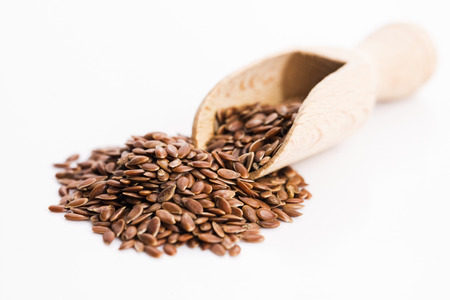 flax seeds: Flax seeds, Linseed, Lin seeds close-up Stock Photo