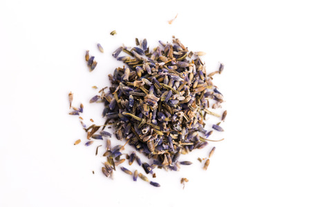Lavender Herb Bud Flower tea Heap pile surface top view isolated on white background