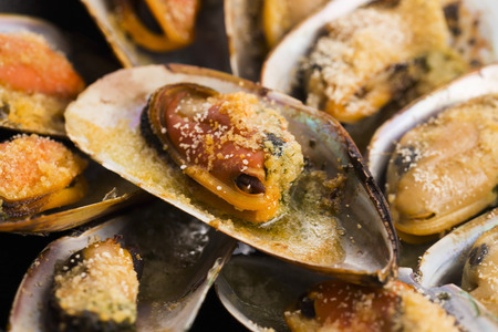 clams: Delicious Fresh Clams with herbs Stock Photo