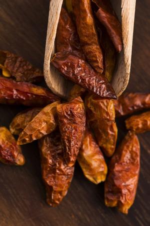 flesh colour: hot birds eye peppers Stock Photo