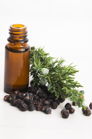 juniper: juniper essential oil Stock Photo