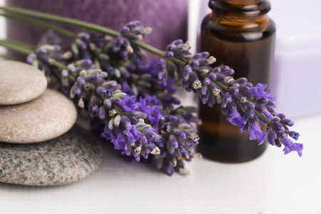 zen candles: essential oil and lavender flowers