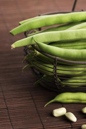 snap bean: Green beans close up Stock Photo