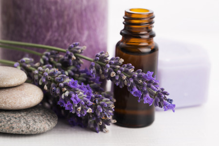 lavender oil: essential oil and lavender flowers