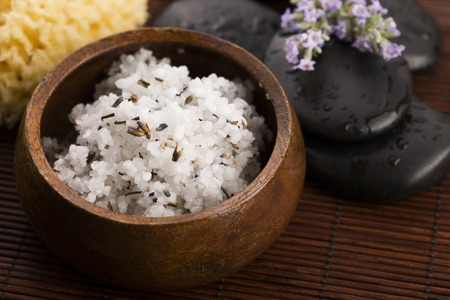 olive skin: Homemade skin exfoliant (skin scrub) of sea salt, olive oil and lavender flowers