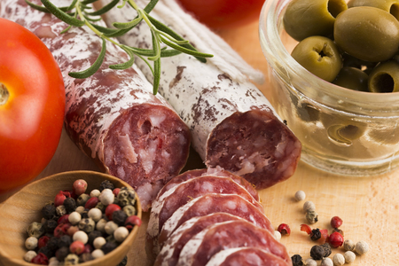 embutido: slices of spanish pork sausage