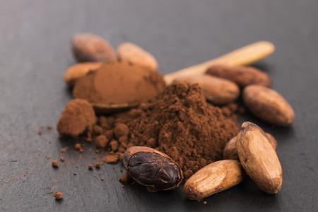 cacao: granos de cacao y cacao en polvo en la cuchara