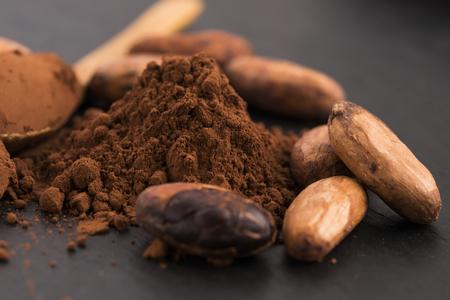 cacaobonen en cacaopoeder in lepel Stockfoto