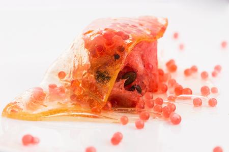 honey wrap with watermelon and strawberry caviar - molecular gastronomy