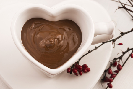 hot day: Valentines day celebration with hot chocolate Stock Photo