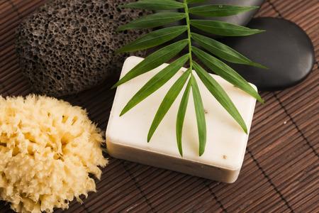 natural soap: Spa setting with natural soap