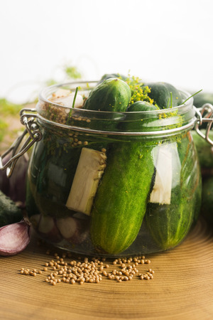 pickling: Closeup of fresh pickling cucumbers