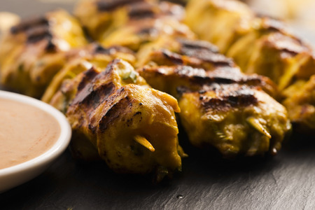 Delicious Asian Cuisine Chicken Satay Stock Photo