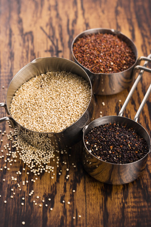 red quinoa: Seeds of Red, White and Black Organic Quinoa