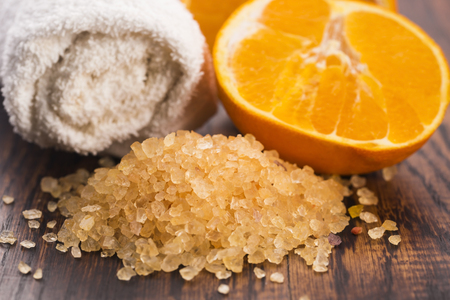 Orange bath salt and fruits Stock Photo