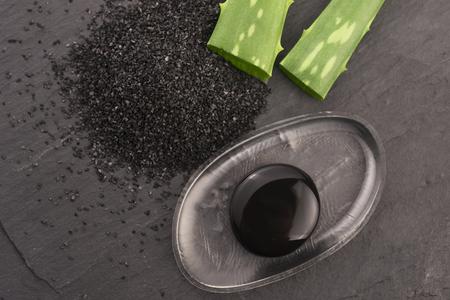 black charcoal mask with aloe vera
