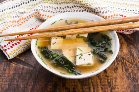 Miso soup, japanese food in the cup Banco de Imagens