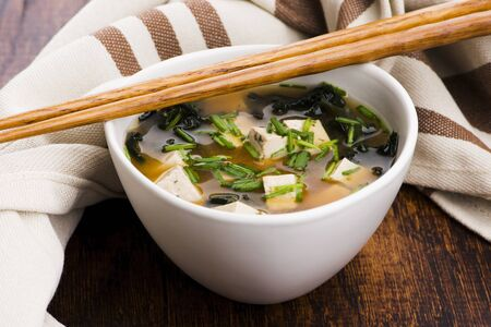 Miso soup, japanese food on the wooden background