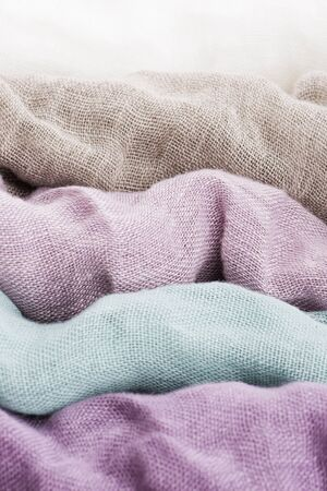 Multicolored textile with violet tones and colorful accents and rich, detailed texture, flax Zdjęcie Seryjne