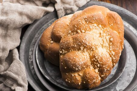 Two loaves of Sweet Challah Bread Stock Photo