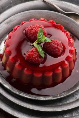 Vanilla pudding with raspberry and raspberry sauce 版權商用圖片