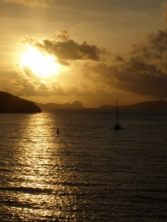 sunset in the Caribbean Stock Photo