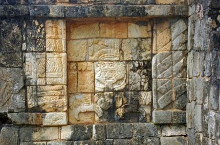 religious habit: Mayan relief in Chichen Itza, Mexico  Stock Photo
