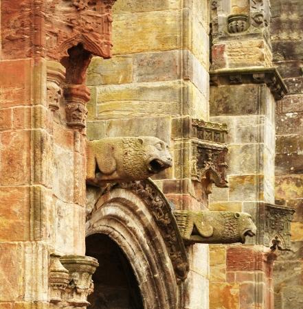Gargoyles on the medieval Rosslyn chapel, Scotland