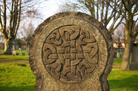 Celtic knot symbol on a gravestone in a Scottish graveyard
