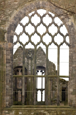 Burnt cathedral next to the Holyrood Palace in Edinburgh, Scotland