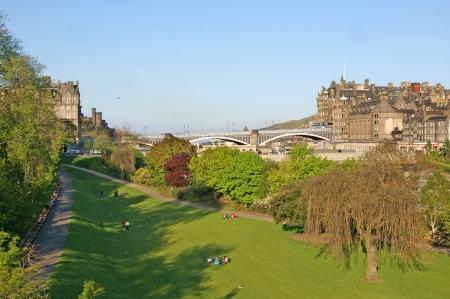 princes street: View on the Princes Street Gardens and the Waverley Bridge, Edinburgh, Scotland Stock Photo