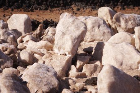obtaining: sea salt blocks in the Salinas de los Agujeros, Lanzarote, Canary Islands Stock Photo