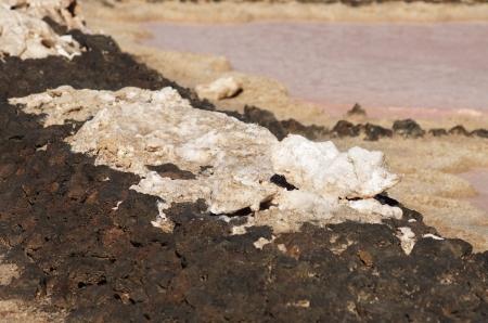 obtaining: Salinas de los Agujeros salt refinery, Lanzarote, Canary Islands Stock Photo