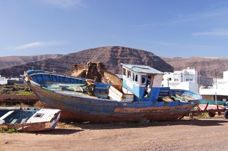 smack: smack boat wreck in Orzola, Lanzarote, Canary Islands Stock Photo