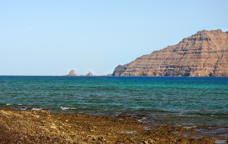 northern Lanzarote coast seen from La Graciosa, Canary Islands Stock Photo - 25834166